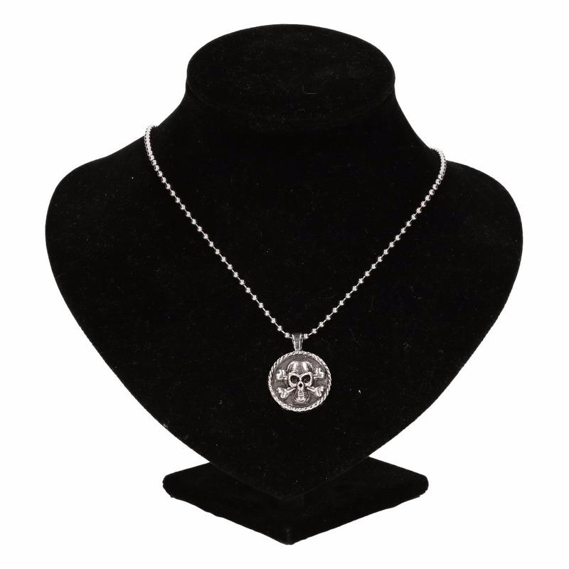 Zilveren piraten medaillon zwart voor volwassenen