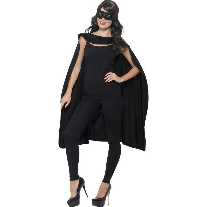 Zwarte cape met oogmasker verkleed kleding voor volwassenen