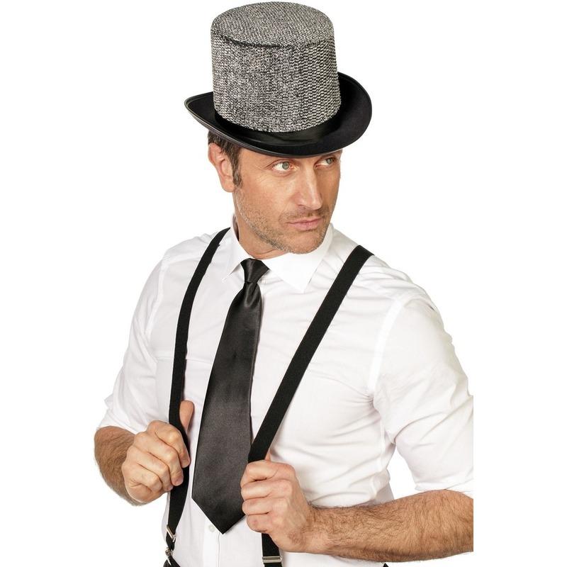 Zwarte stropdas 41 cm verkleedaccessoire voor dames-heren