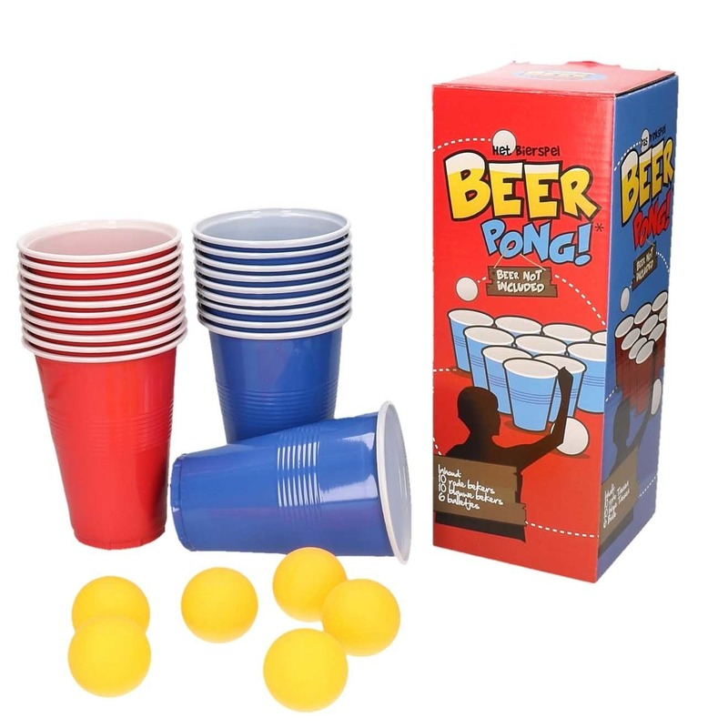Drankspel-drinkspel beer pong set met red en blue cups